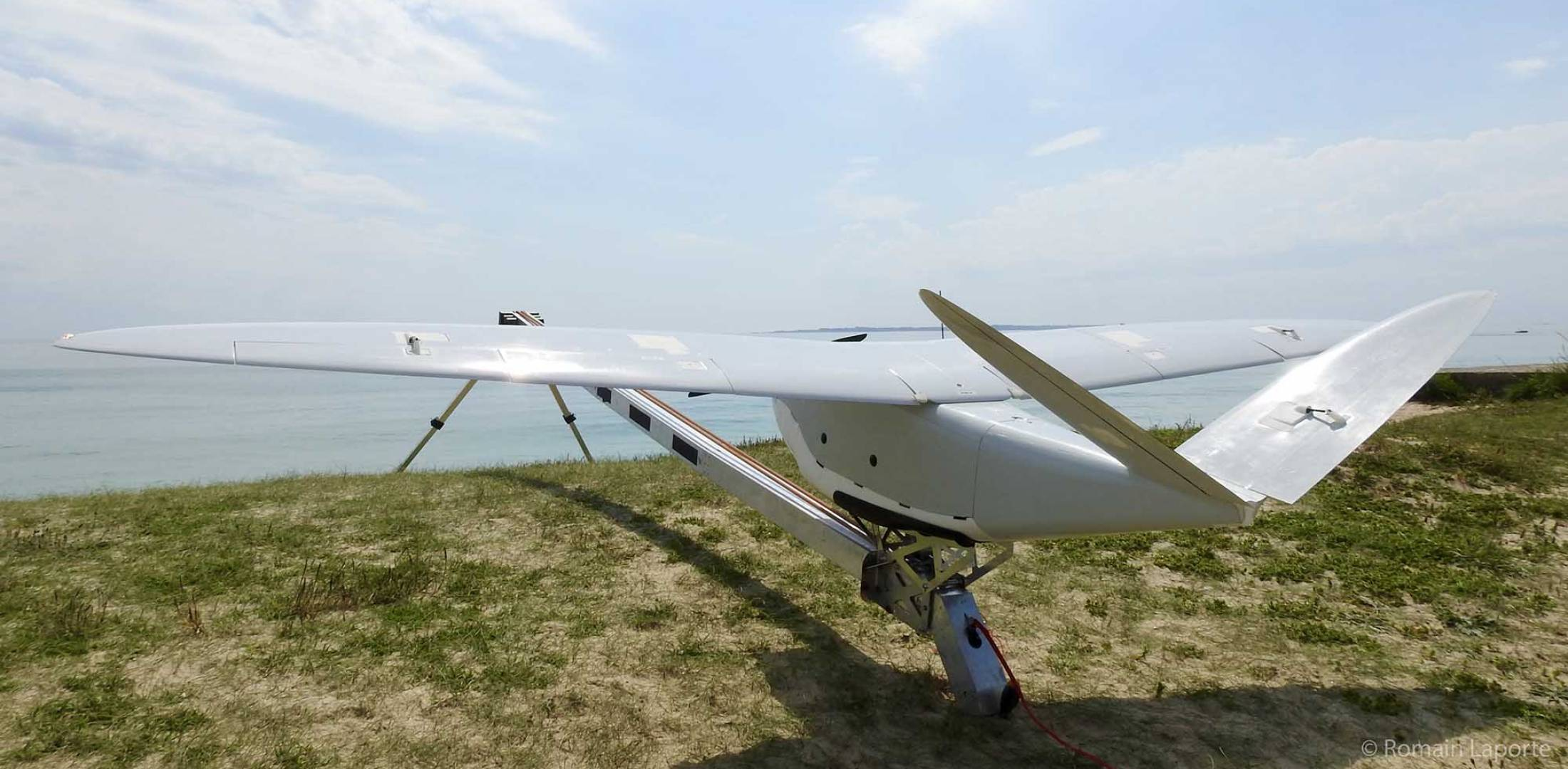 A DT26M Fixed Wing Drone Manufactured By Delair Tech Of Toulouse France Awaits Launch From Catapult Photo