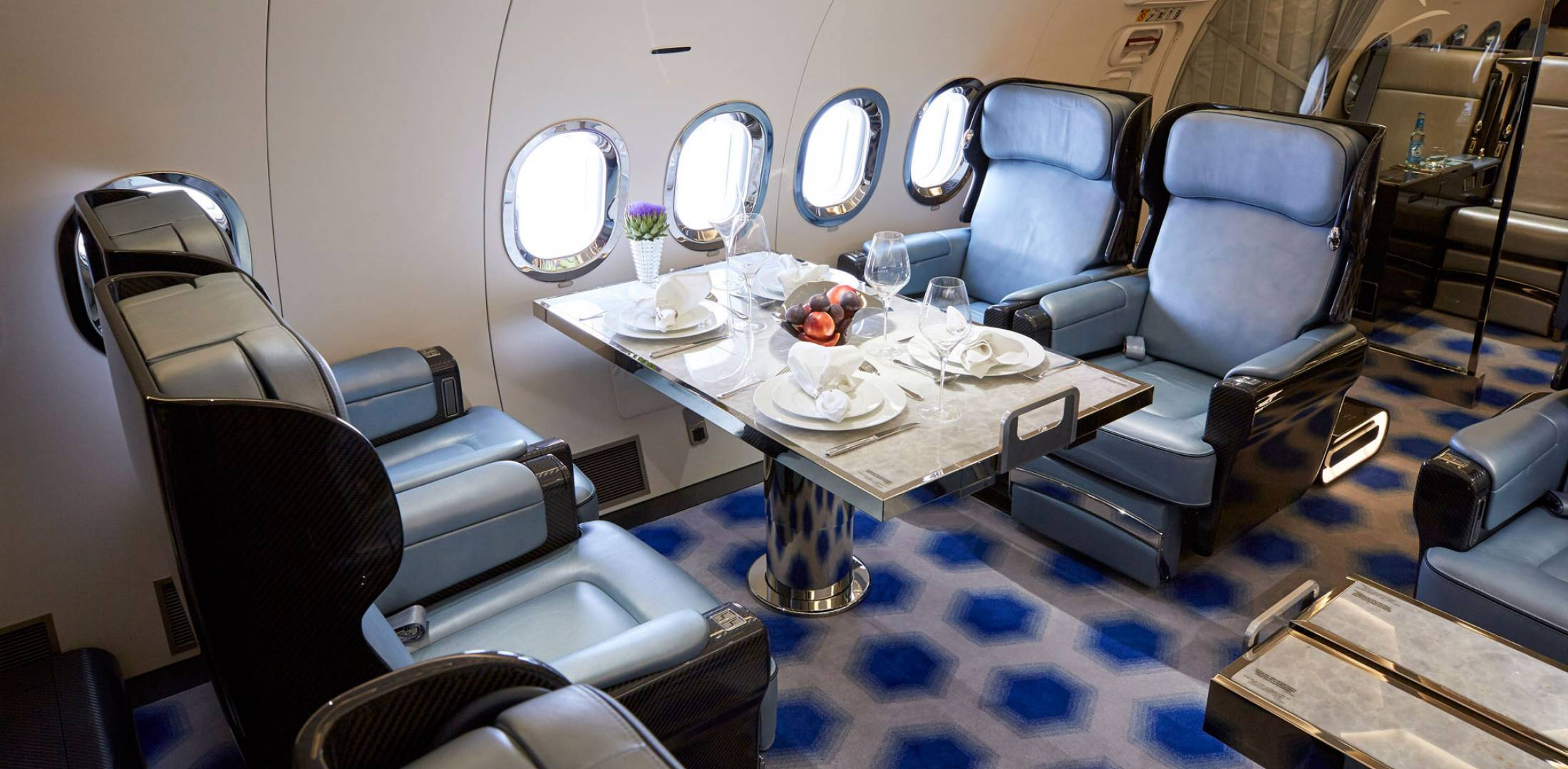 one of the two boeing business jet interiors lufthansa technik recently completed for dubai based royal jet is on display at mebaa - Business Jet Interior Design