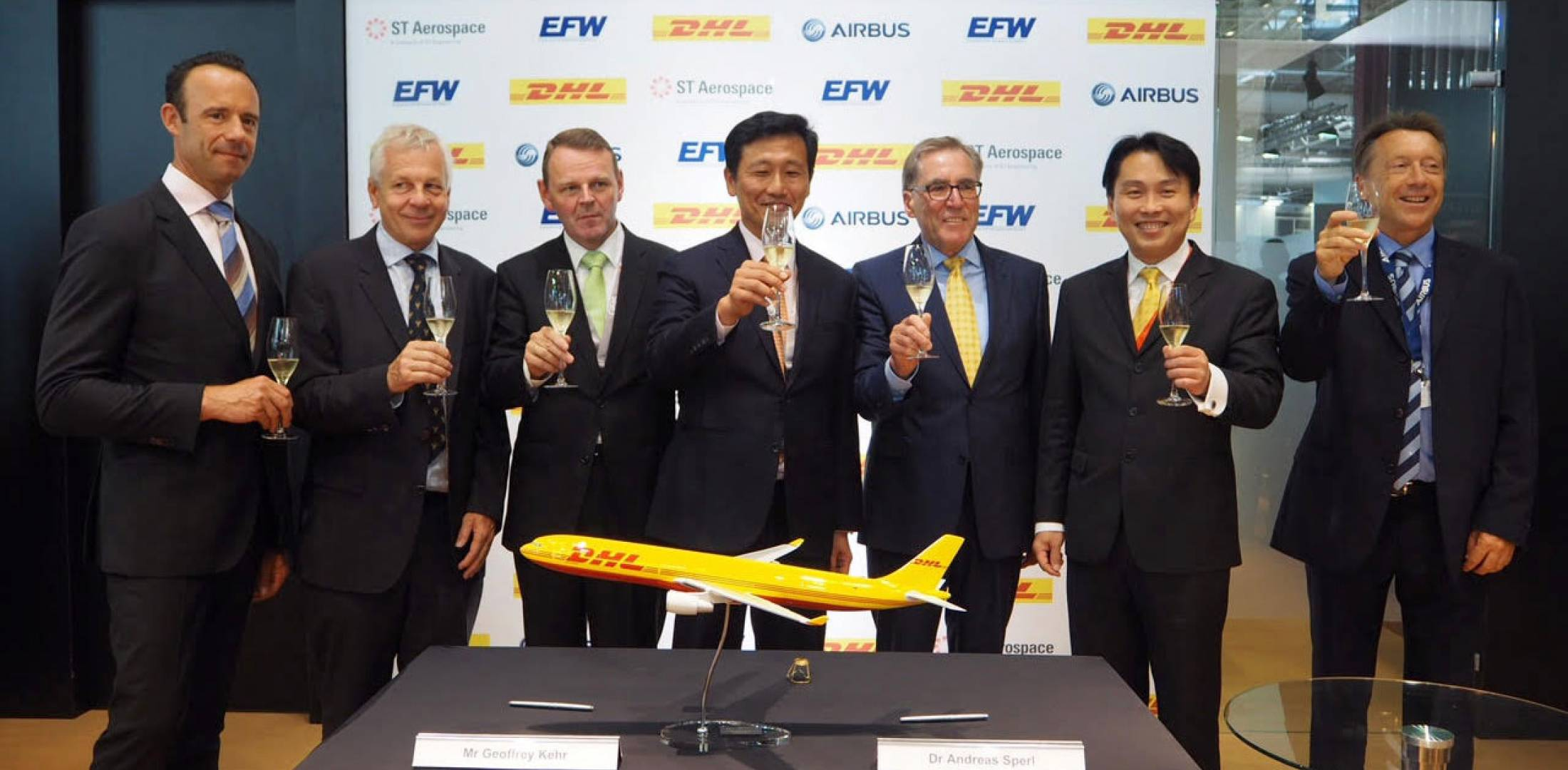 ee37d3816c Celebrating Monday s signing of an agreement to convert  passenger-configured Airbus A330-300s for all-cargo operations were (from  left) senior v-p of global ...