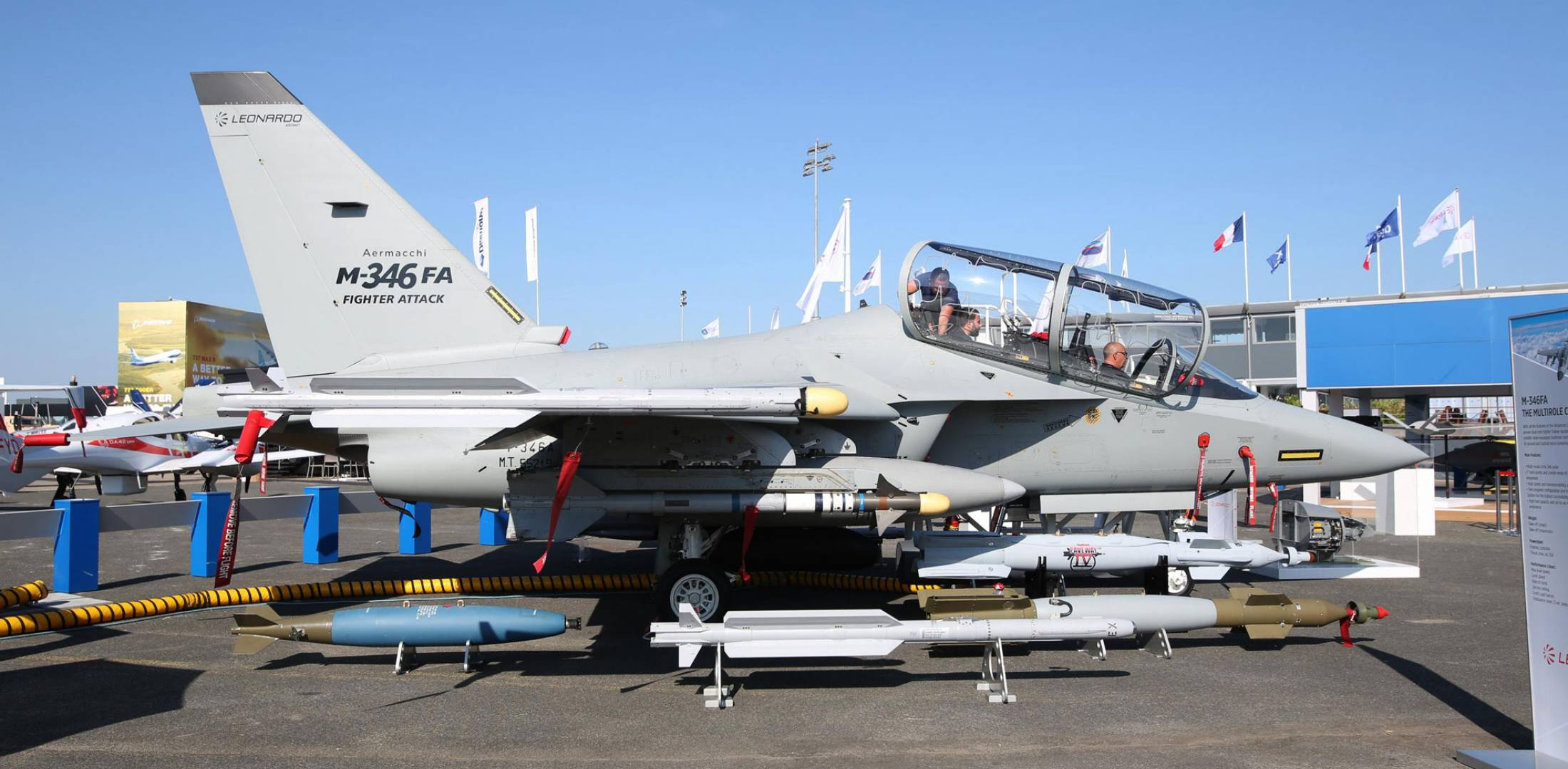 The latest version of the M-346 was shown at Paris with potential weapons.  (Photo: Leonardo)