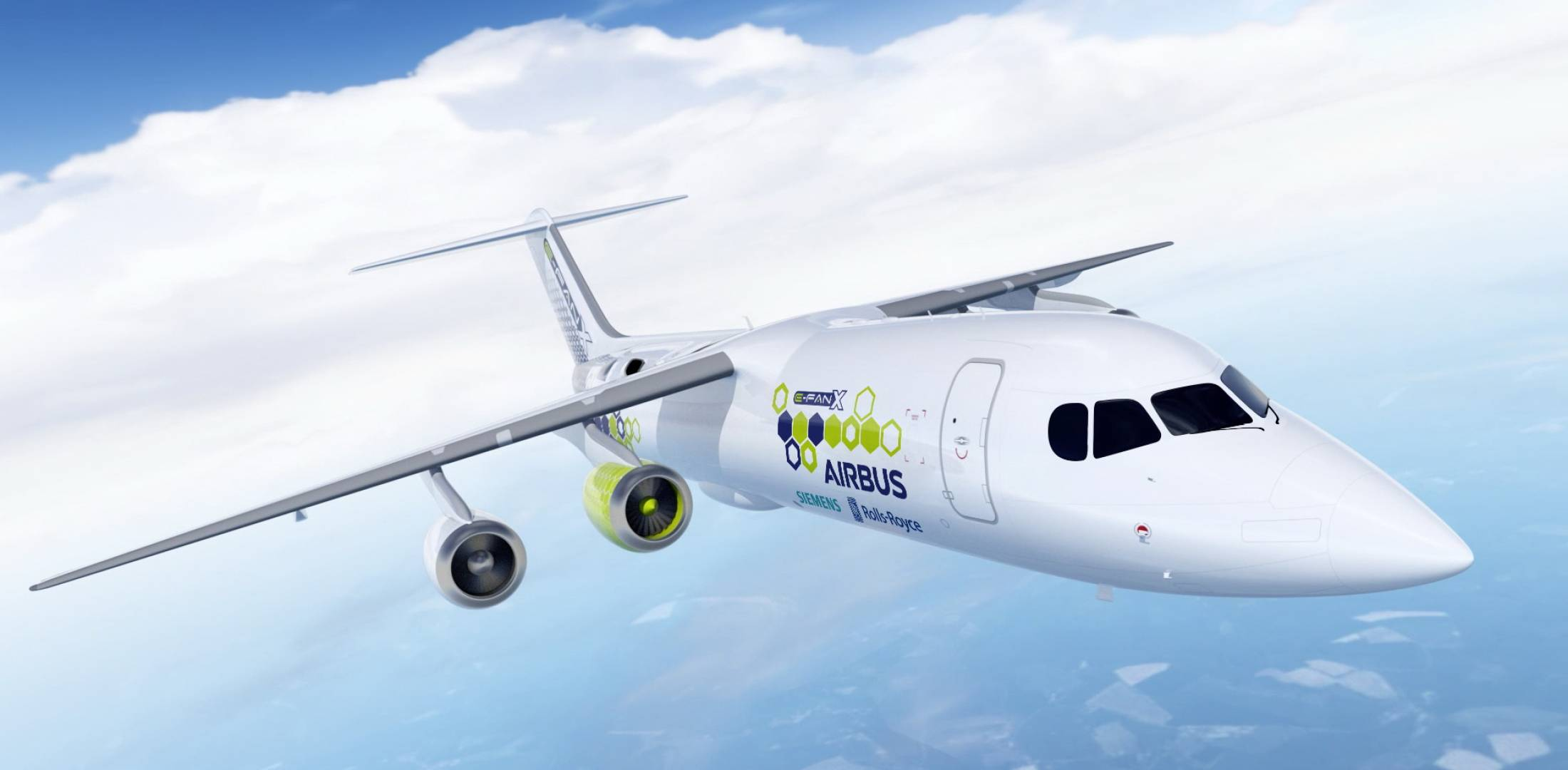 Using a BAe 146 airframe, the E-Fan X demonstrator would fly with one of  four engines replaced with an electric motor some time in 2020. (Image:  Airbus)
