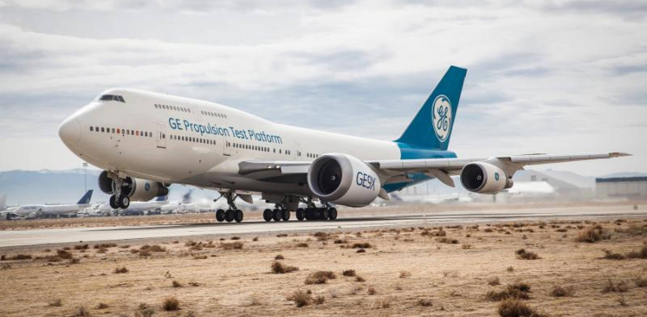 GE Aviation's Boeing 747 testbed takes off with a GE9X attached to the  inner pylon of its left wing from Victorville, California. (Photo: GE  Aviation)