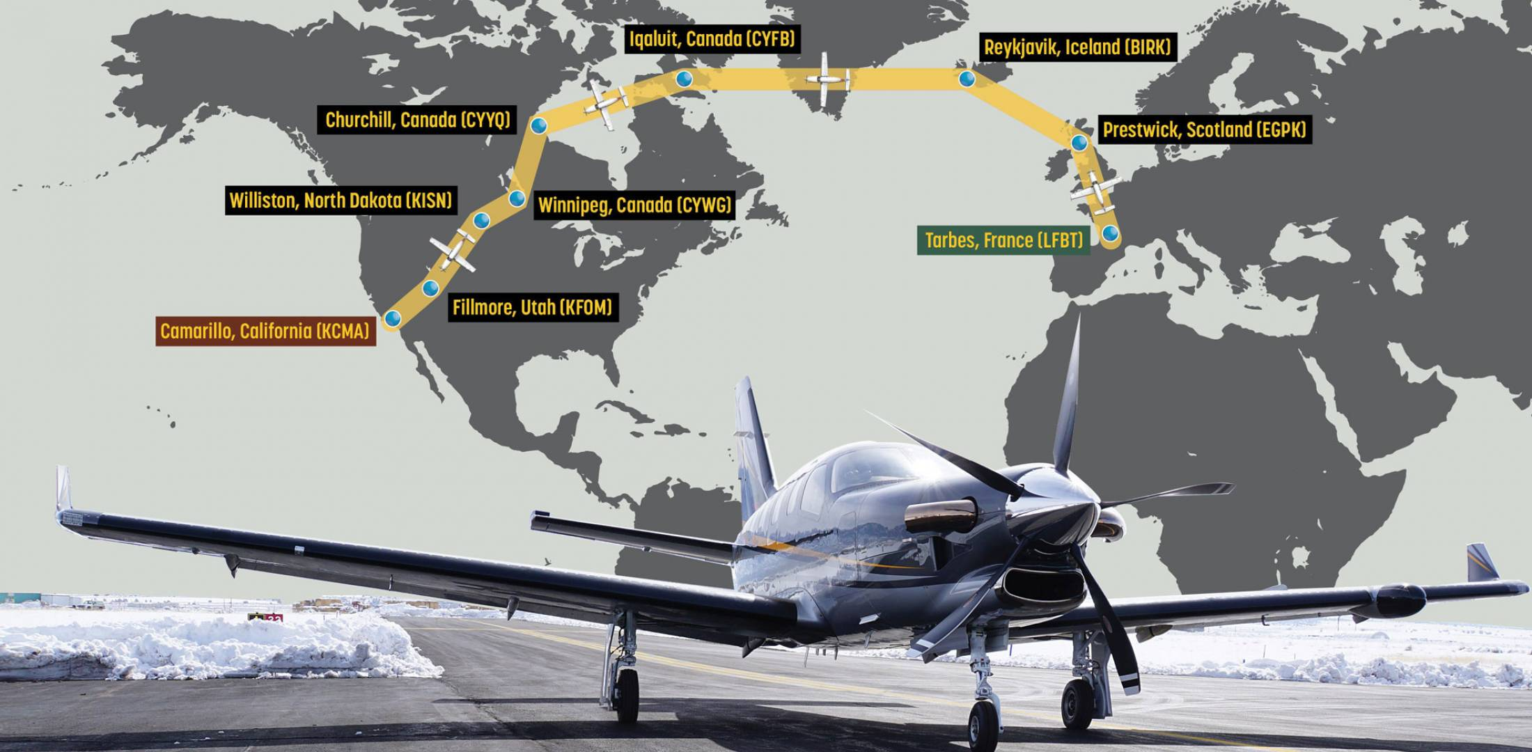 The ferry flight originated in France and after several stops landed in  Camarillo, California, for customer delivery of the TBM 910.