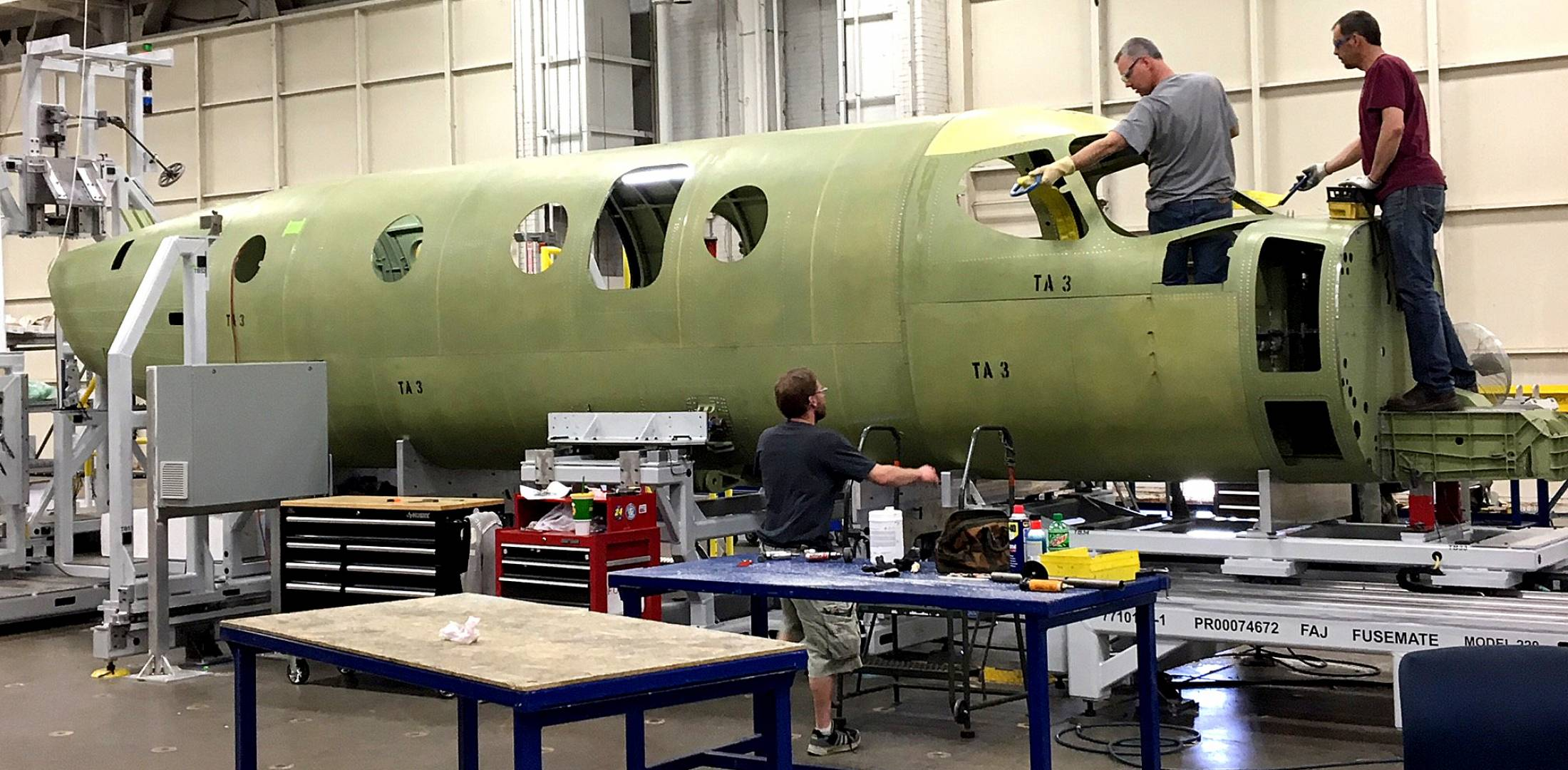 Modern manufacturing techniques ensure a precise fit between airframe sections, such as the nose and cabin of the Textron Aviation Denali turboprop single now under development.