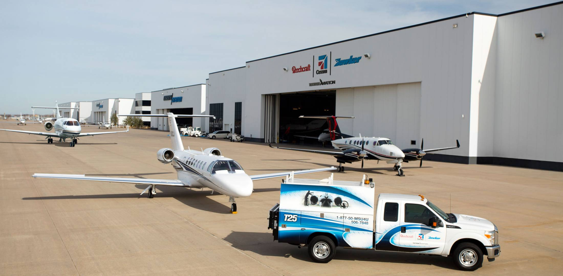 A combination of Textron Aviation's mobile service unit (MSU) trucks and aerial response team (ART) aircraft help customers' aircraft maintain their mission.