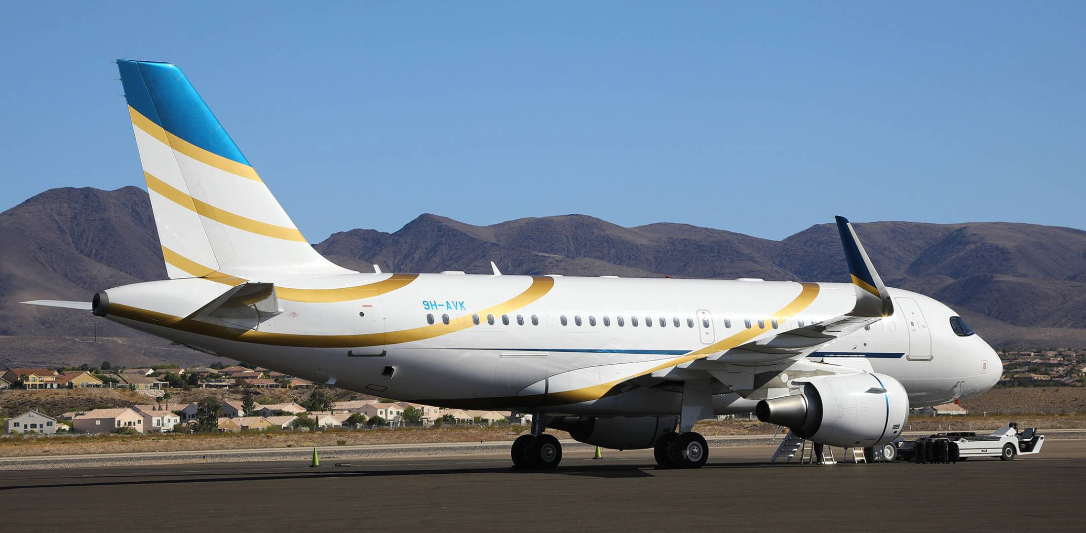 The Airbus Corporate Jet on static display at NBAA-BACE, an ACJ319 registered to Comlux Malta, is shown here shortly after arriving at Henderson Executive Airport. Photo: David McIntosh