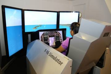 Why not take an F-16 simulator for a spin? Photo: David McIntosh