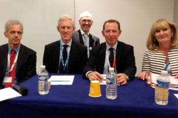 From left to right: Eric Dautriat, executive director, Clean Sky Joint Undertaking; Ray Kingcombe, head of technology, Aerospace Marine & Defence Unit, UK; Ron van Manen, Clean Sky technology evaluation officer and project officer, Clean Sky 2; Massimo Lucchesini, Chairman, Clean Sky, and General Manager COO, Alenia Aermacchi; and Manuela Soares, Director Transport, Research and Innovation, European Commission.