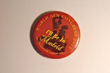 A campaign button advertises the ATM World Congress