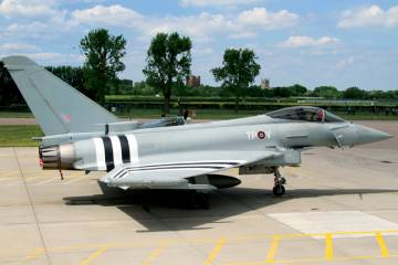 To mark the 70th anniversary of the D-Day landings this year, the RAF painted on a Eurofighter Typhoon the invasion stripes that were used to distinguish allied aircraft in 1944.