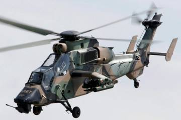 Tiger attack helicopter in flight