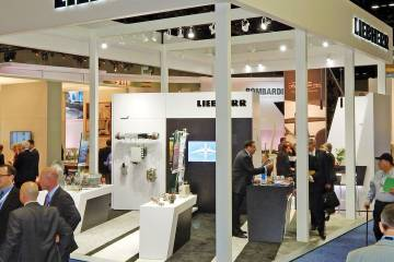 Flight control and actuation, air management and landing gear for business jets are among the components Liebherr-Aerospace is showing at its booth.
