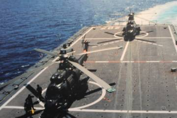 Super Puma on aircraft carrier