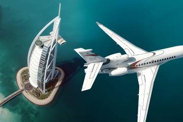 Pictured flying past Dubai's Burj Al Arab hotel, Dassault Aviation's newest offering, the 8X trijet, entered service in October.