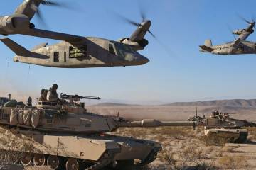helicopters over a tank