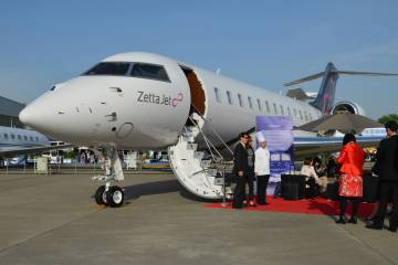Zetta Jet's new Global 6000 at ABACE 2017.