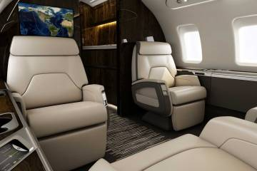 Bombardier Challenger interior featuring new connectivity features.