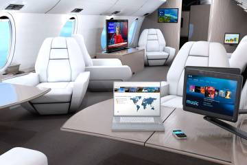 The Rockwell Collins fiberoptic Venue cabin management system provides cutting edge connectivity and displays. It is currently installed in more than 1,000 business jets.
