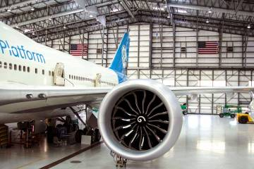 airplane in hangar showing engine