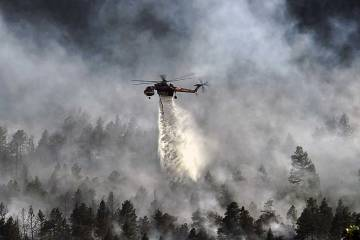 helicopter putting out forest fire