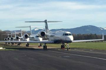 Business jets parked at St. Gallen-Altenrhein Airport