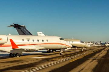 Business Jets parked for Super Bowl