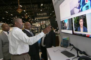 Visitors to Viasat's booth