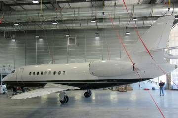 Falcon 2000 in West Star Aviation's newly-enlarged CHA faciity