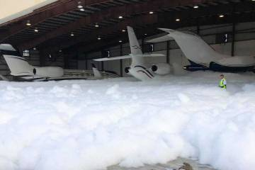 Accidental hangar fire foam discharge
