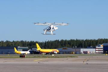 Volocopter's 2X prototype at Helsinki International Airport