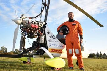 James Ketchell with gyrocopter