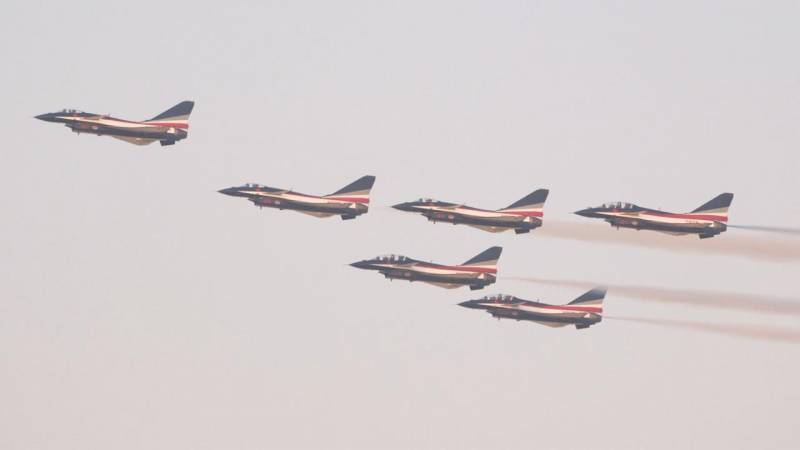 China's August 1st Ba Yi Aerobatics Team Performs Flying Display at Dubai Airshow