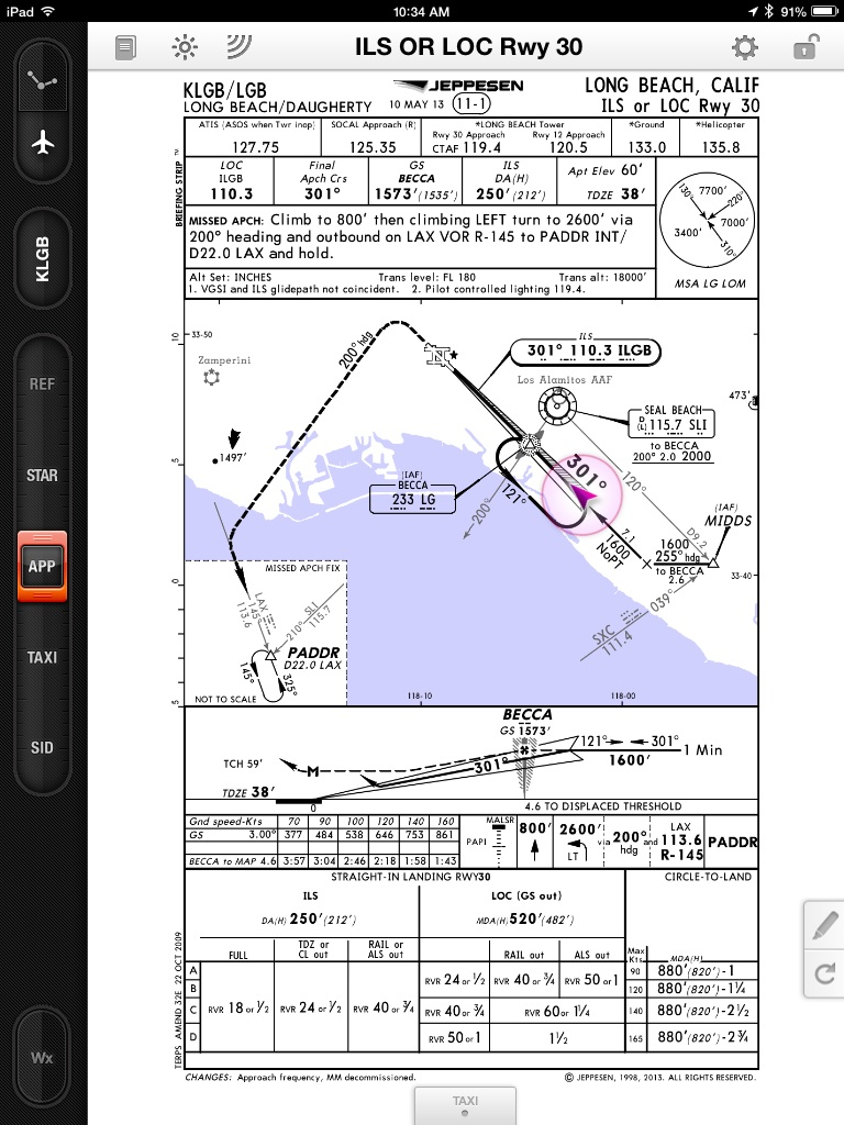Jeppesen mobile flitedeck approach charts now display own ship