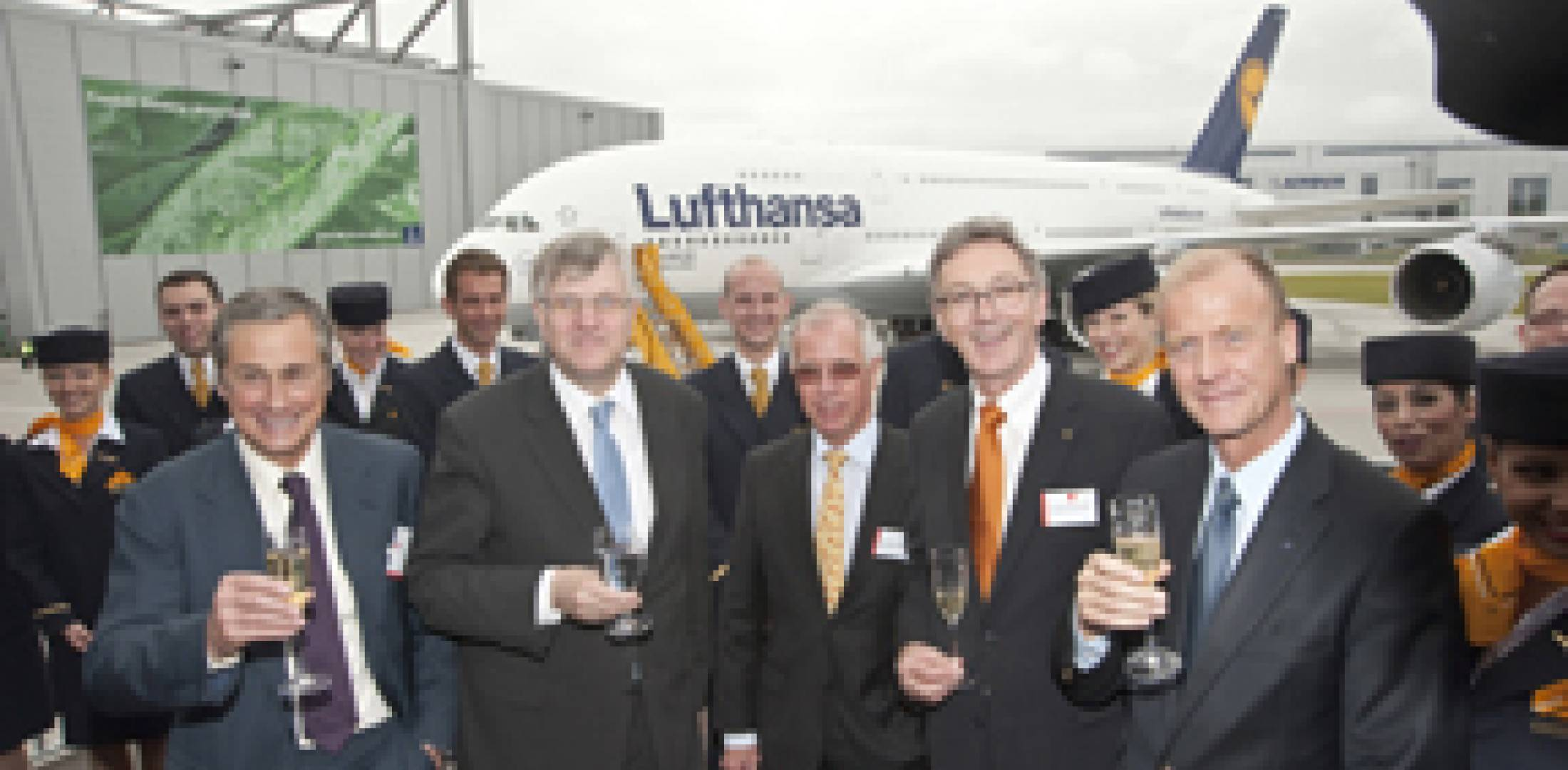 The top management of Airbus and Lufthansa were all smiles at the delivery of...