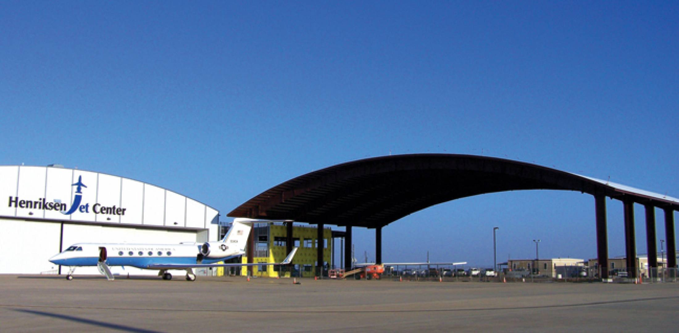The 32,800-sq-ft canopy at Houston's Henriksen Jet Center can provide shelter for two  BBJs parked side by side.