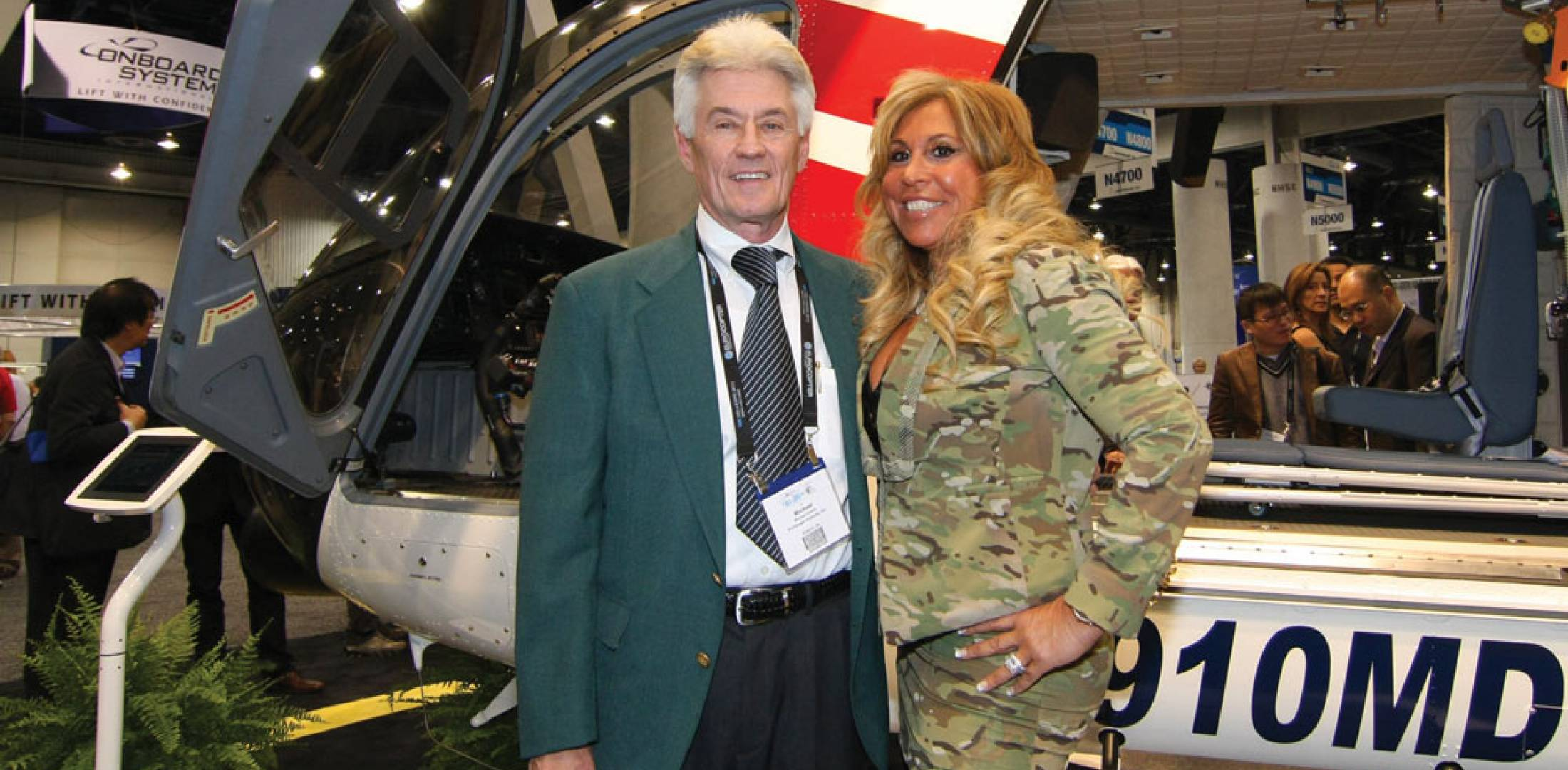 Michael Greene, CEO of  Archangel Systems, with Lynn Tilton, CEO of MD Helicopters, whose MD Explorer will use Archangel's ADAHRS in its Universal Avionics flight deck.