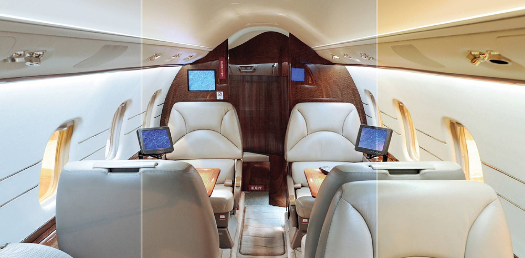 Emteq's Daylight lighting system allows for variable LED lighting that can replicate multiple shades of white, all controlled through the cabin management system.