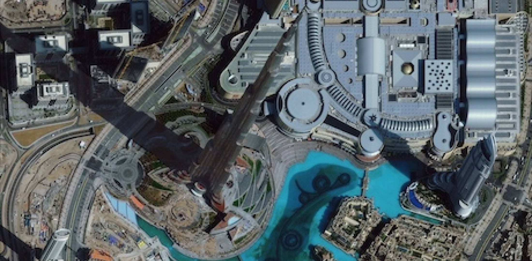 Satellite image of the Burj Khalifa in Dubai.