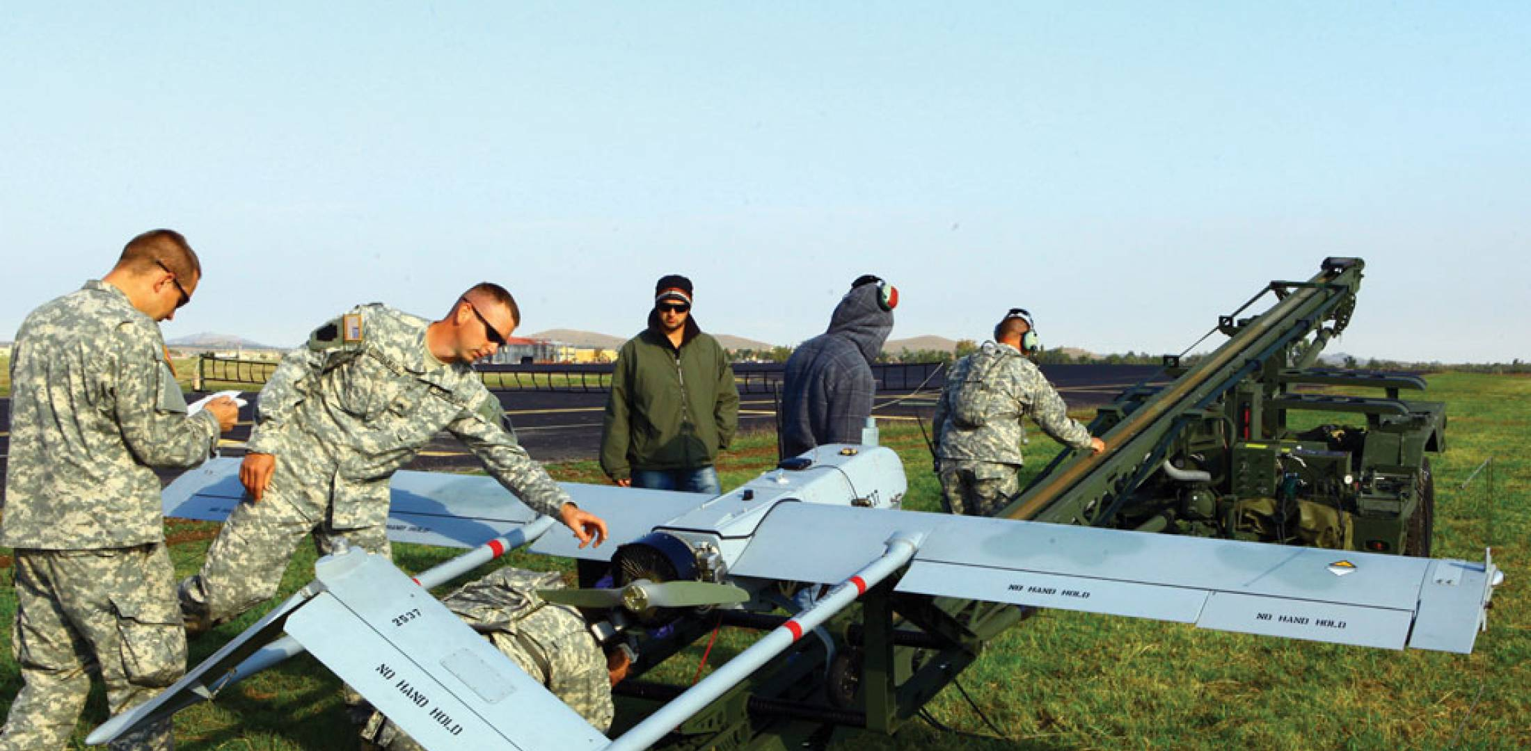Oklahoma Army National Guard soldiers prepare a Textron AAI Corporation RQ-7B Shadow for launch from a pneumatic catapult at Fort Sill, Oklahoma.