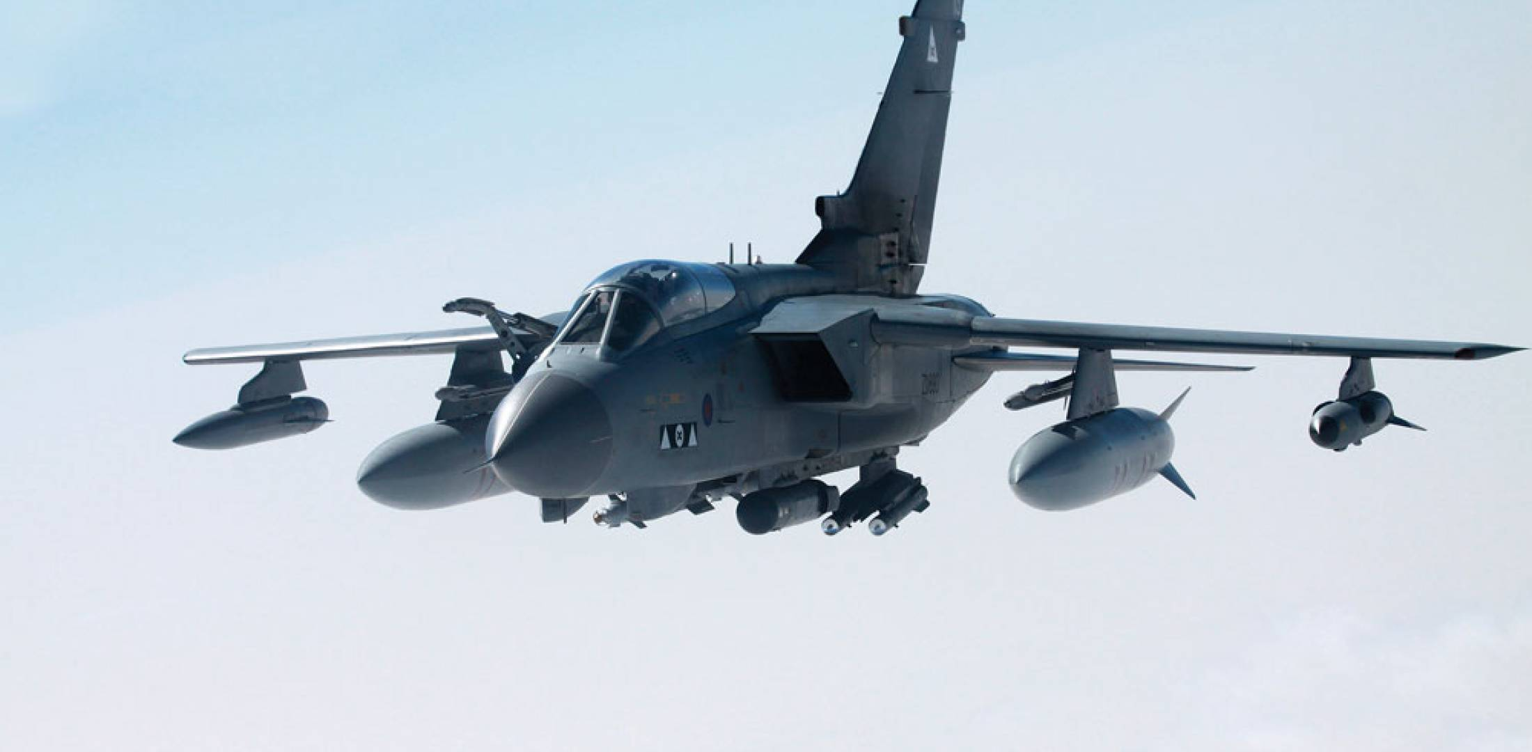 An RAF Tornado carries a pair of  Dual-Mode Brimstone weapons on a rear fuselage station during operations over Libya. The performance of the weapon in that campaign has generated interest from the U.S.