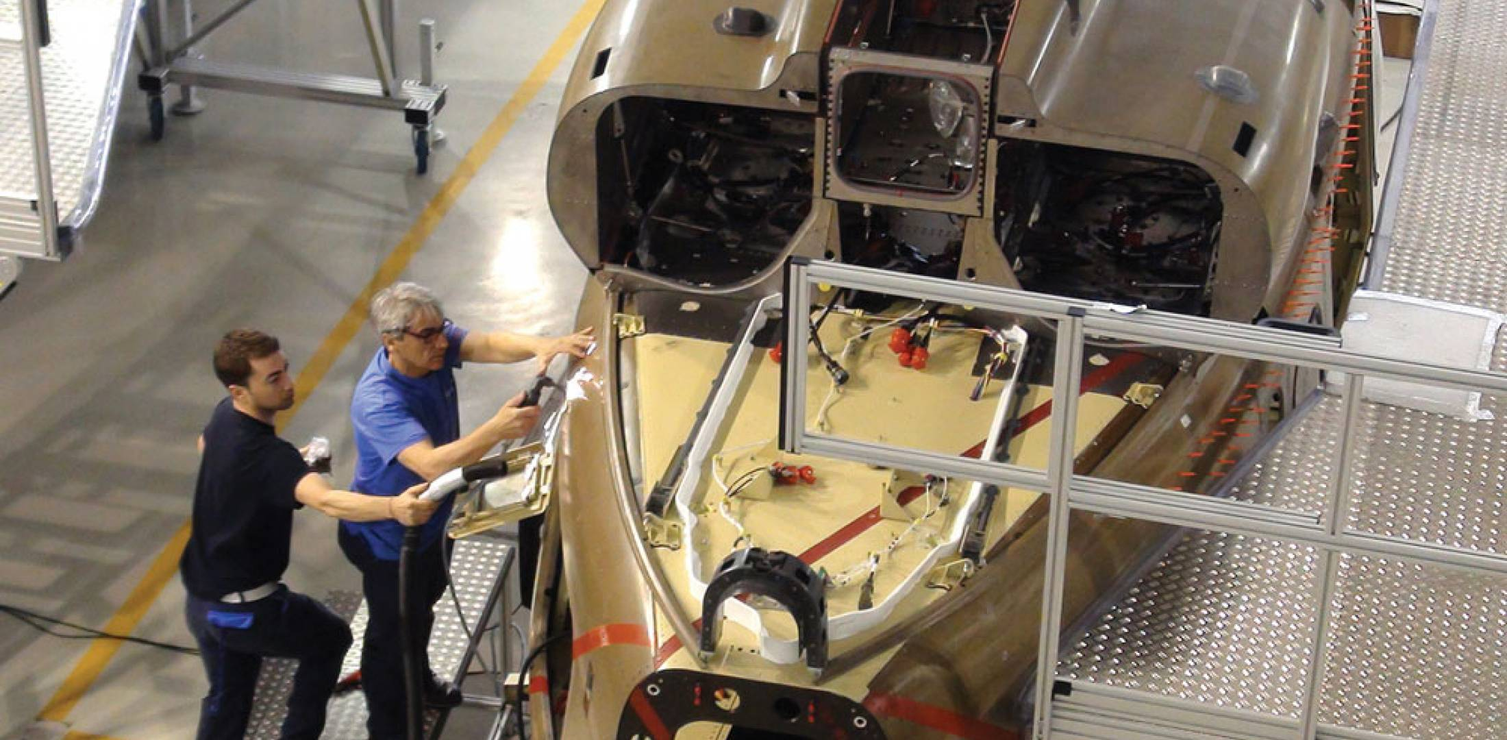 Full-scale maintenance trainer in development at AgustaWestland's facility in Sesto Calende, Italy.