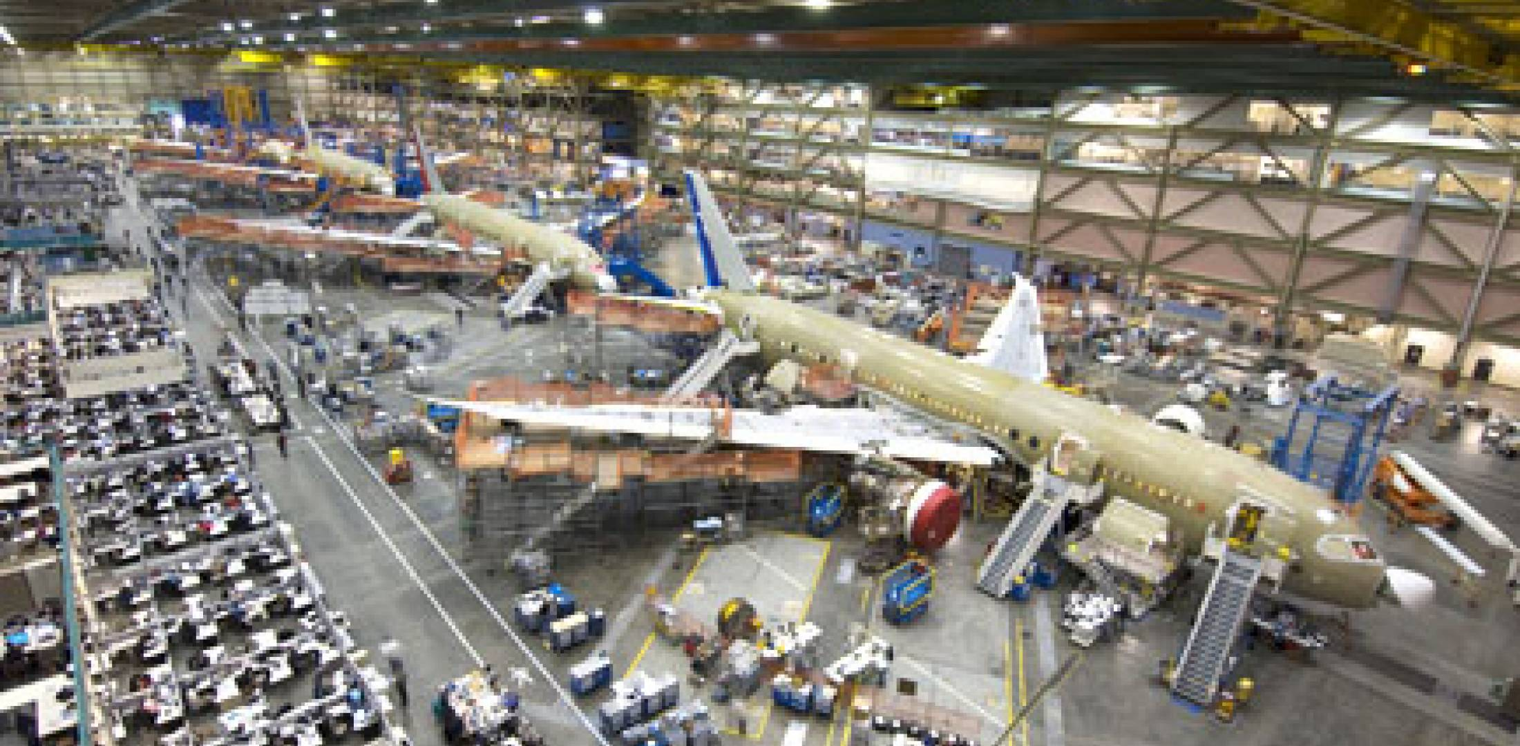 The Boeing 787 Dreamliner assembly line remained busy even as the company hal...