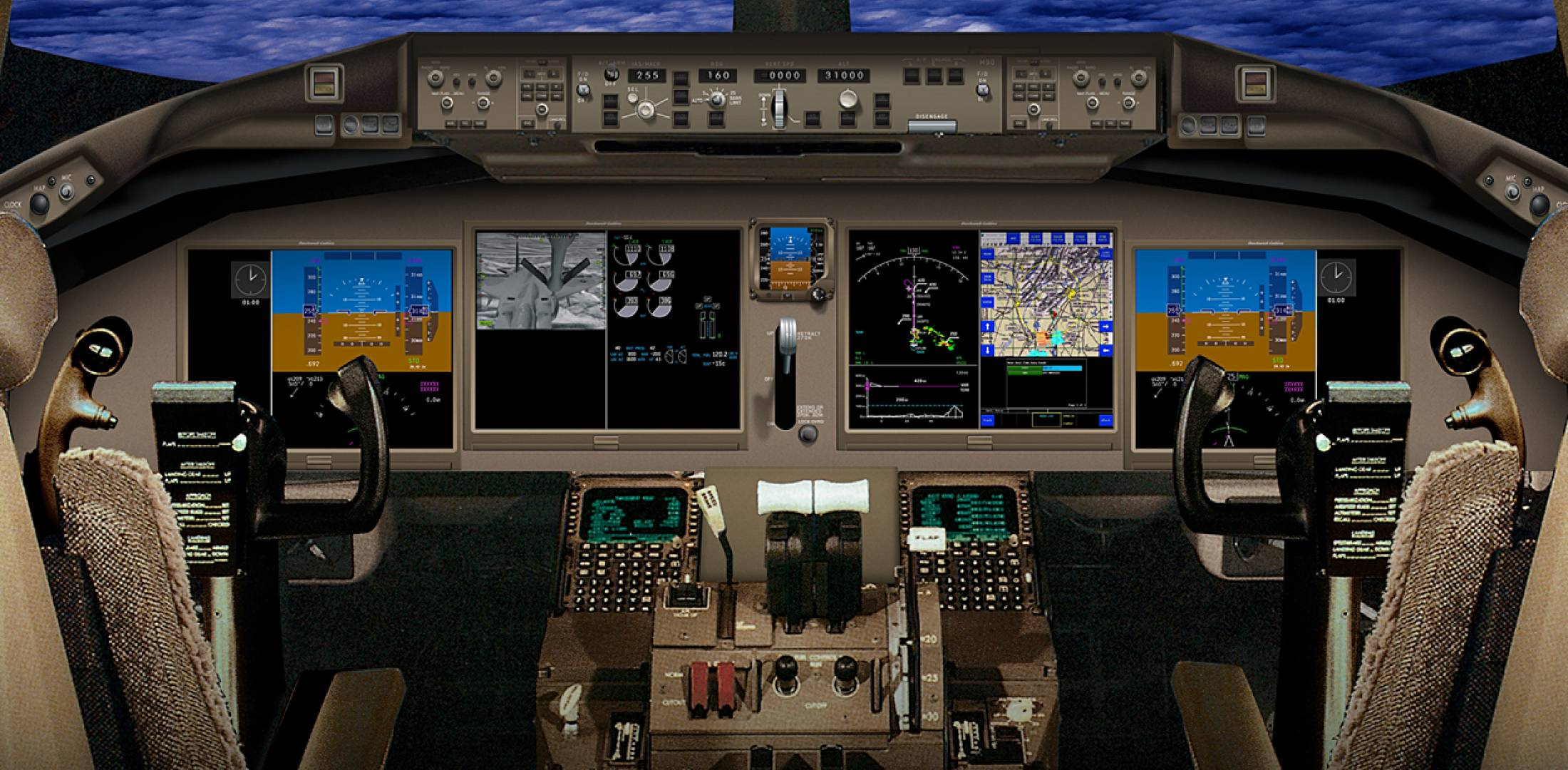 The flight deck displays of the Boeing KC-46A aerial refueling tanker are mod