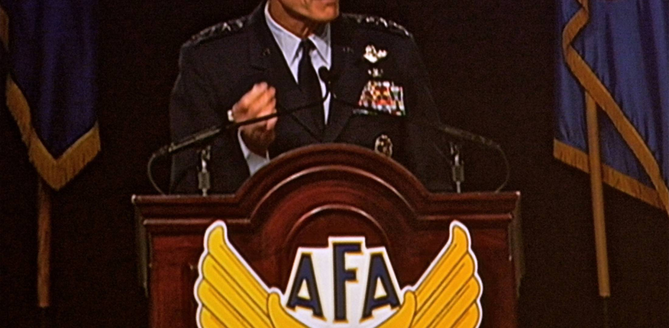 U.S. Air Force chief of staff Gen. Norton Schwartz delivers an address Septem