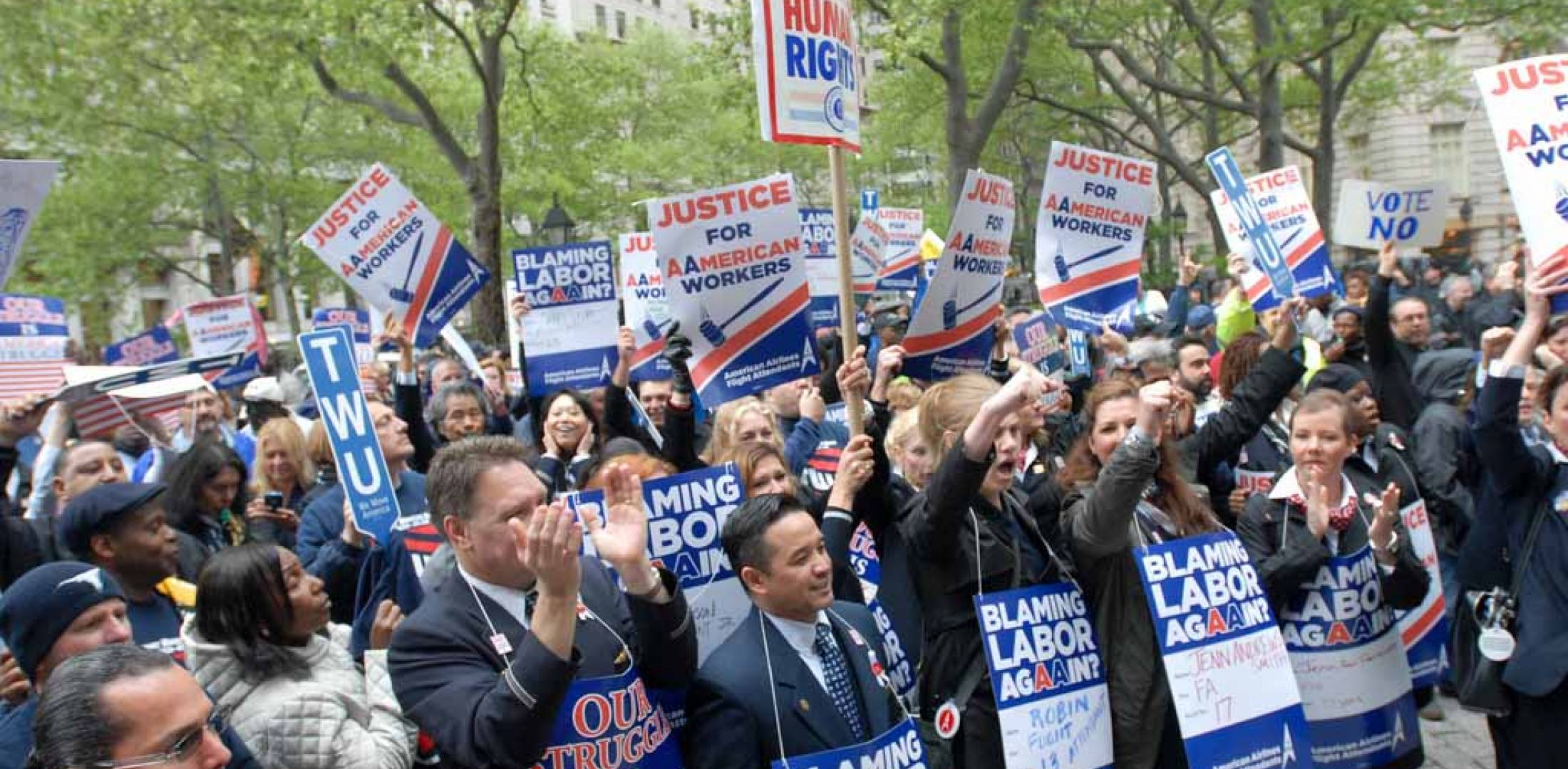 American Airlines workers rally in New York City on April 23.