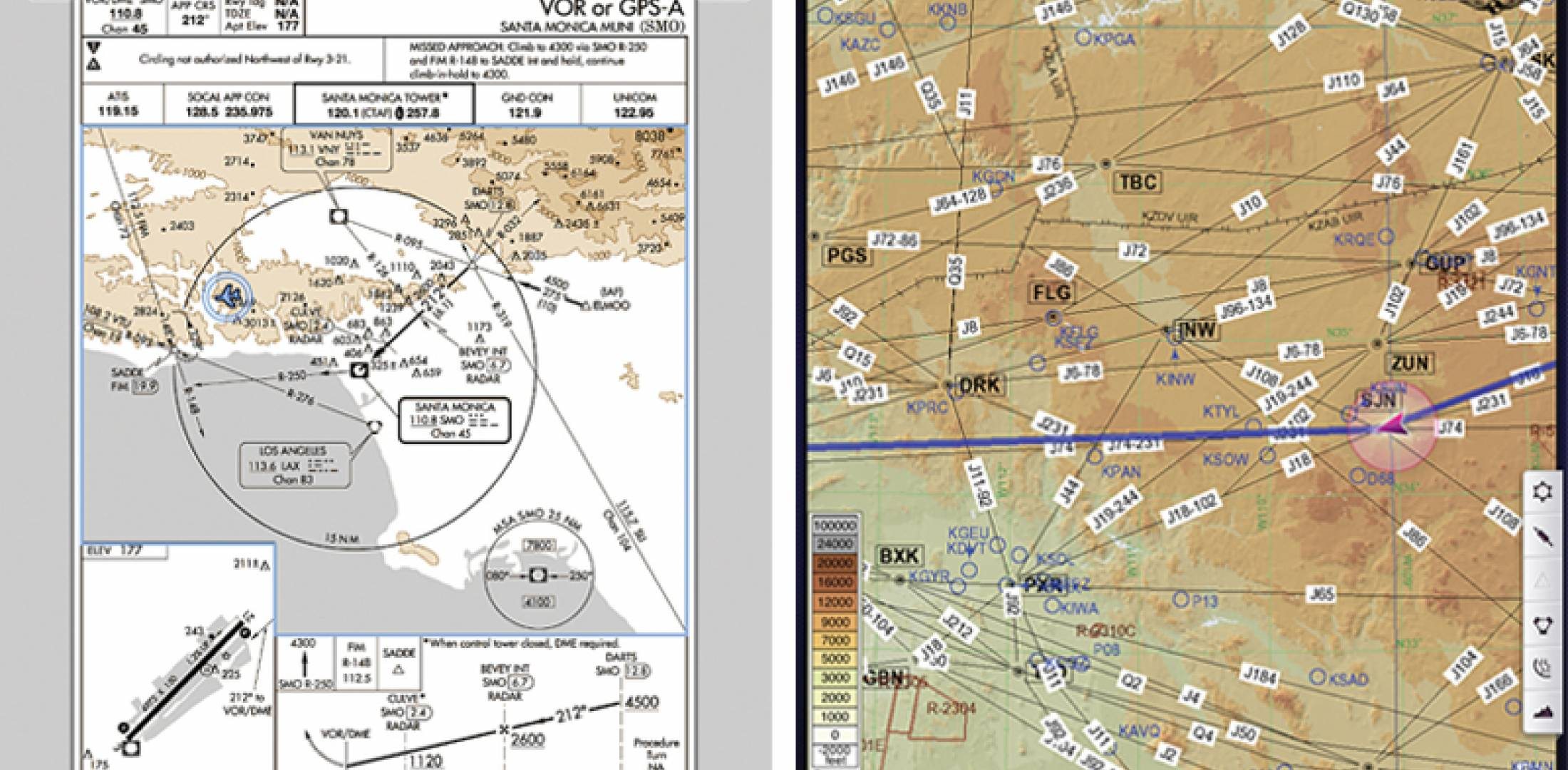 Left, approach plate with own-ship position on Garmin Pilot iPad app. Right, Jeppesen en route chart with own-ship position on Jeppesen Mobile FliteDeck iPad app.