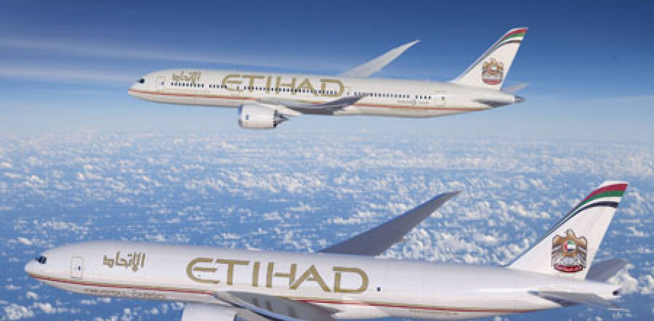 Etihad Boeing 777 (foreground) and 787.