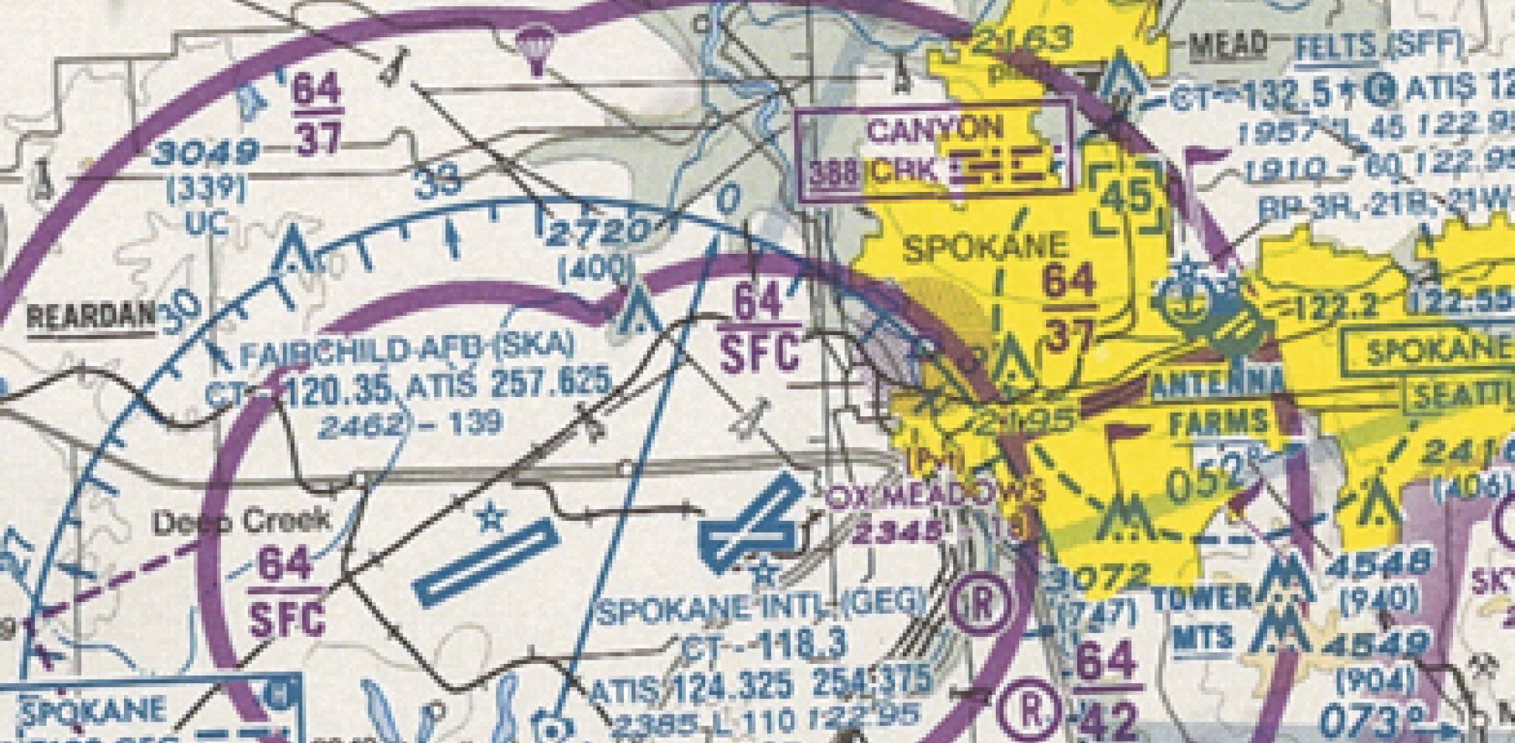 Felts Airport sits just east of the busy Spokane/Fairchild AFB Class C