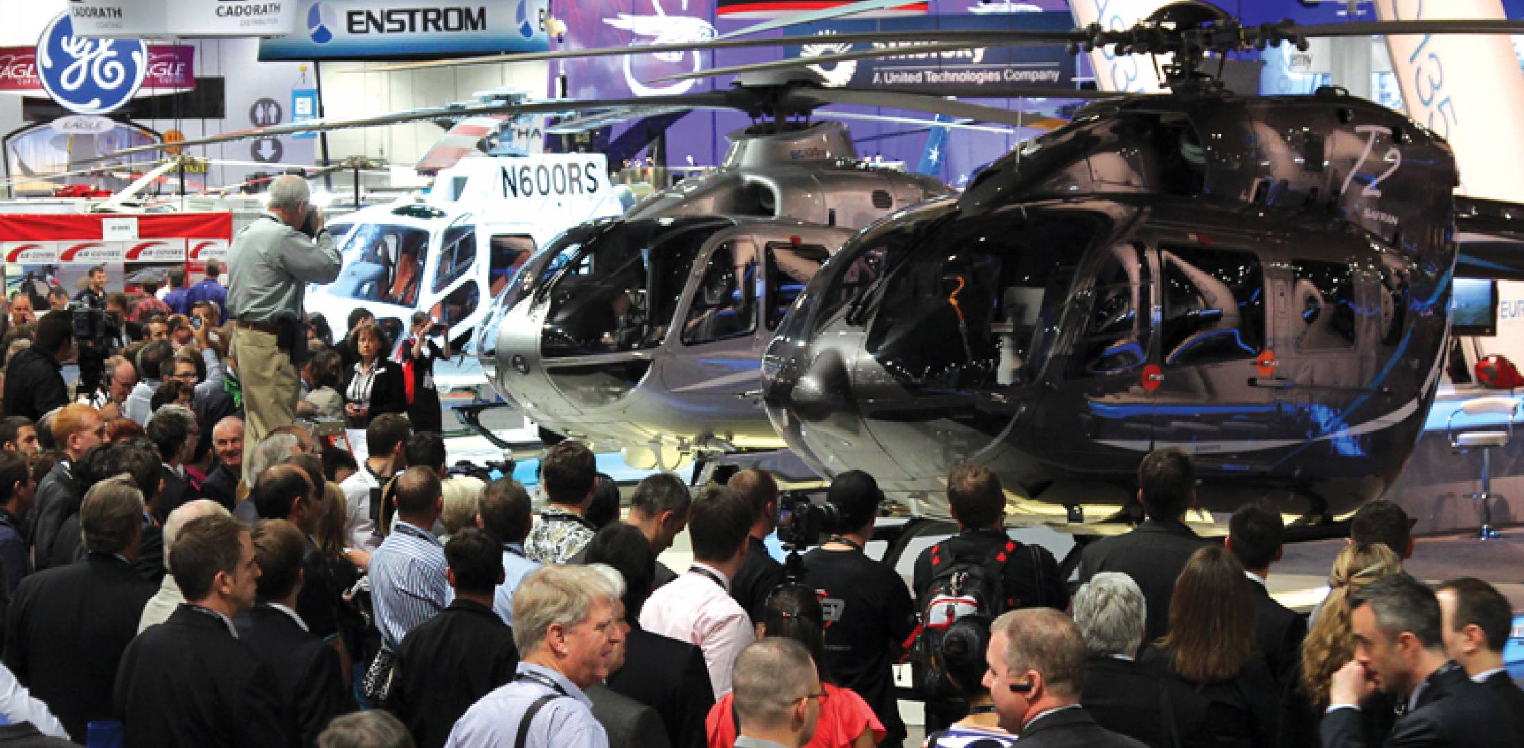 "Announcements of new helicopter models drew Heli-Expo showgoers like Justin Bieber draws teenage girls. Eurocopter played to the crowd with its new EC175 (shown flying in Bristow livery), EC145T2, EC225 and AS350B3e. As outgoing CEO Lutz Bertling put it,  ""The best is yet to come."" (Photo: Mariano Rosales)"