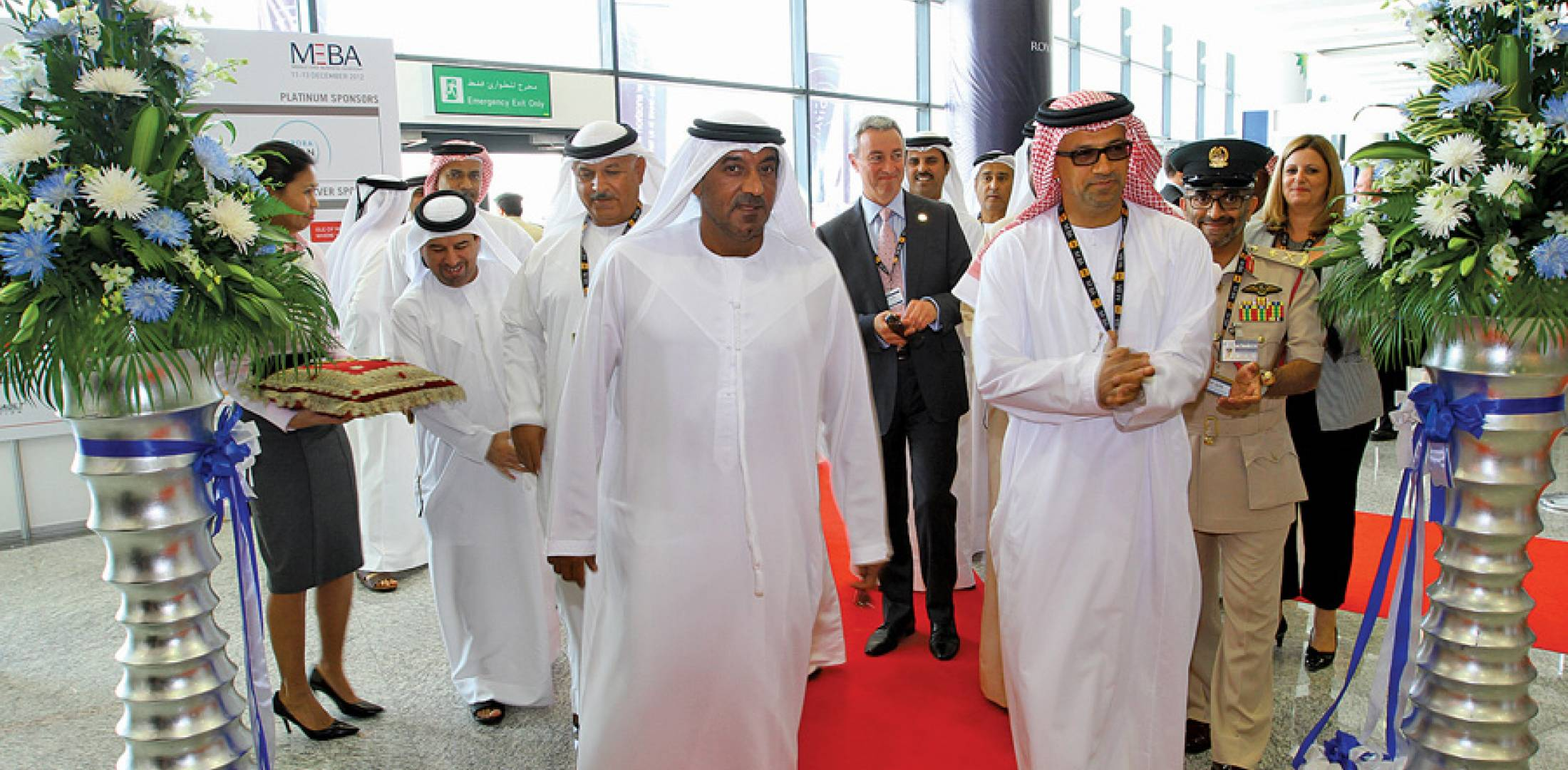 HH Sheikh Ahmed bin Saeed Al Maktoum, President of Dubai Civil Aviation Authority, Chairman of Dubai Airports, and Chairman & Chief Executive of Emirates Airline & Group (center), today officially opened the fourth MEBA. To his left is Ali Al Naqbi, Founding Chairman of MEBAA; and behind him on his right is Khalifa Al Zaffin, Chairman of Dubai World Central.